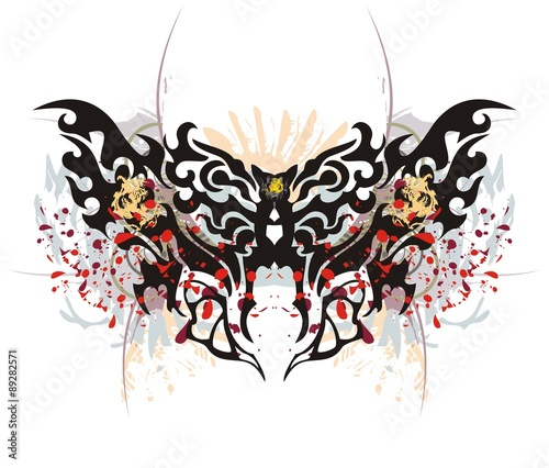 Papiers peints Papillons dans Grunge Tribal butterfly splashes with tiger head. Grunge moth with tiger head and blood drops