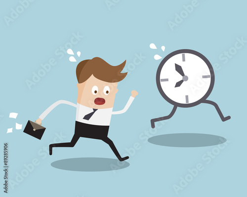 Fotomural Businessman Running Follow Clock Late Work Time