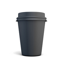 Black Plastic Cup Of Coffee For Your Design