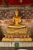 buddha,statue,Bangkok,temple,color,gold,wall,background,yellow