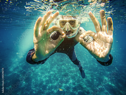 Fotografie, Obraz  Scuba diver underwater showing ok signal with two hands.