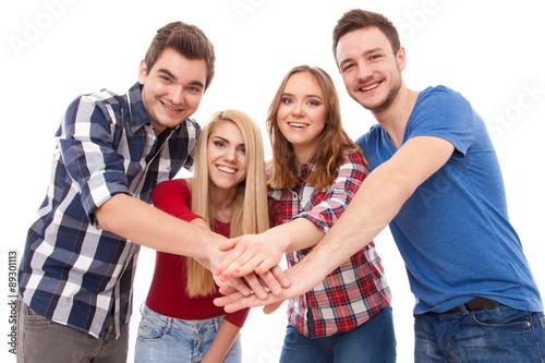 Fotografia  Grupa szczęśliwi młodzi ludzie
