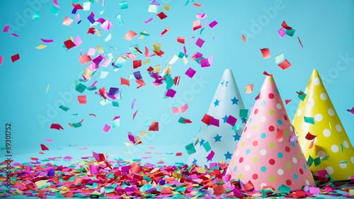 Obraz Colored confetti on party hat - fototapety do salonu