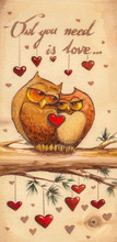 Owls In Love Sitting On A Tree.Picture Created With Watercolors On Wood.