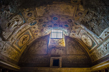 Hole In The Ceiling Of An Ancient Spa In The Complex Of Pompeii City Ruins Near Naples.