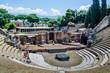 view of the ruin of amphitheatre - theatre in italian pompeii