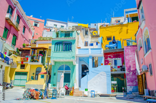 Photo sur Toile Naples italian island procida is famous for its colorful marina, tiny narrow streets and many beaches which all together attract every year crowds of tourists coming from naples - napoli.