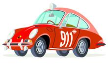 Caricatura Porsche 911 Serie 1 Coupé Rojo Competición Vista Frontal Y Lateral