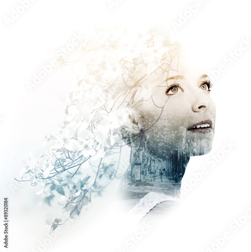 Fotografie, Obraz  Double exposure of young woman with street and doogwood