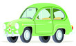 Caricatura Fiat Seat 600 verde vista frontal y lateral