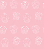 Different types of hand drawn cute cupcakes - 89328929