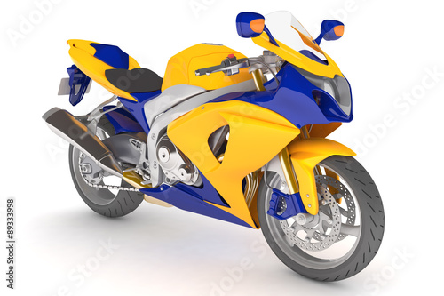 Poster Motorcycle isolated yellow blue motorcycle.