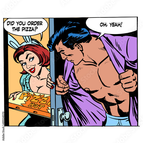 Pizza delivery game sexual man woman love romance