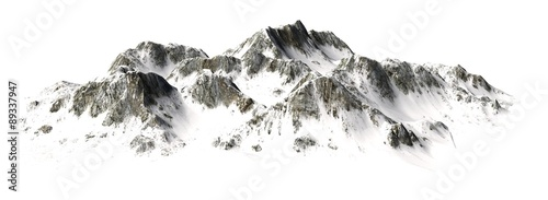 Poster Blanc Snowy Mountains - Mountain Peak - separated on white background