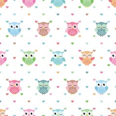 Naklejka Lovely Owl Pattern