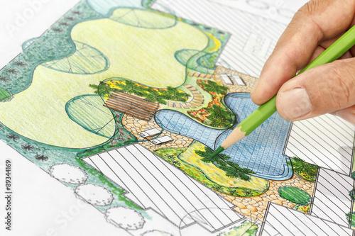 Fotografie, Obraz  Landscape architect design backyard plan for villa