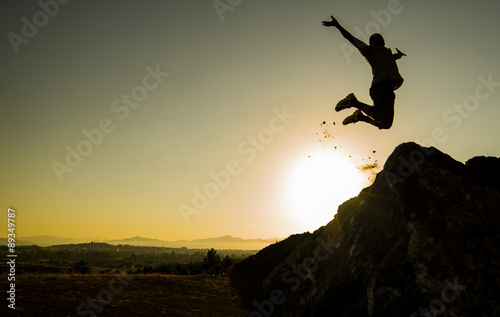 Fotografía  başarı sevinç gösterisi & hoplamak & zıplamak