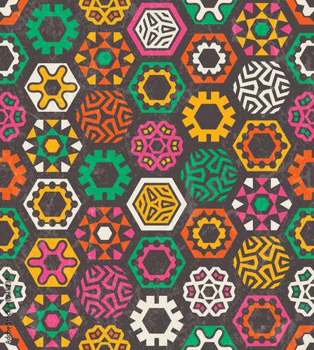 Photo  Colorful pattern with funny hexagons