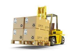 Warehouse Logistics, Packages Shipment, Delivery And Loading Concept, Forklift Truck Lift Up Pallet With Cardboard Boxes Isolated On White Background