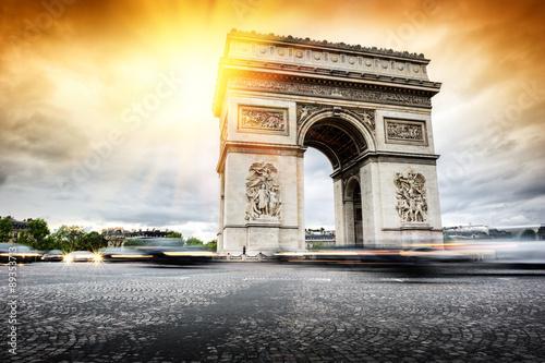 Valokuva  Beautiful sunset over Arc de Triomphe, Paris