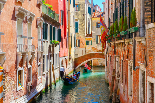 Foto op Canvas Venice Gondolas on lateral narrow Canal in Venice, Italy