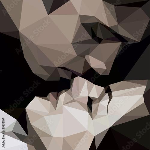 kochankowie-pocalunek-grafika-wielobokow-wektor
