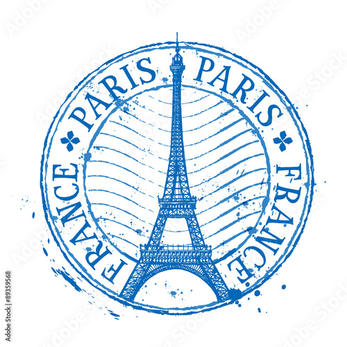 Paris vector logo design template. Shabby stamp or France