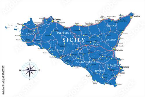 Sicily map Canvas Print