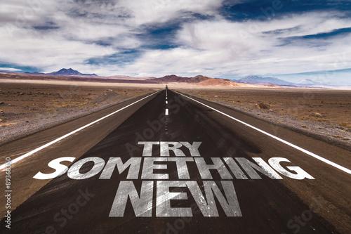 Cuadros en Lienzo Try Something New written on desert road