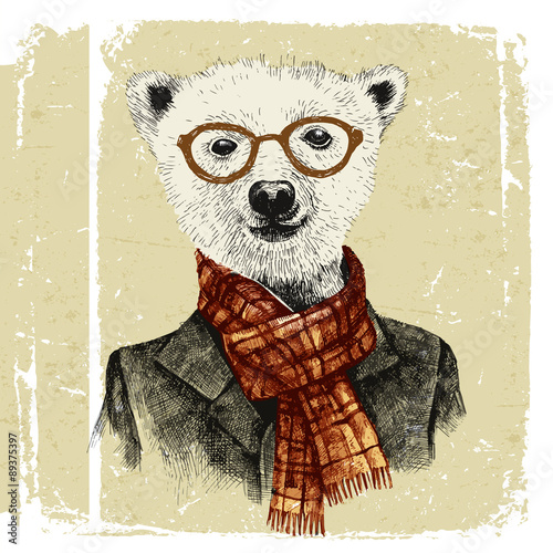 Hand drawn dressed up hipster bear in glasses