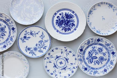 Fényképezés  Vintage blue plates