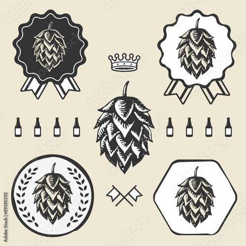 Fotografie, Obraz  Hop craft beer vintage sign symbol label element