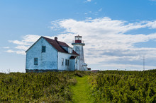 Close View Of Old Lighthouse, Mingan, Quebec, Canada