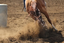 A Barrel Racing Horse Is Sliding And Kicking Up Dirt While Galloping Around A Barrel.