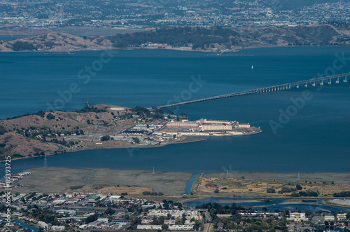 Photo  San Quentin State Prison panorama from Mount Tamalpais