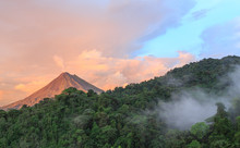 Sunset By Arenal Volcano In Co...