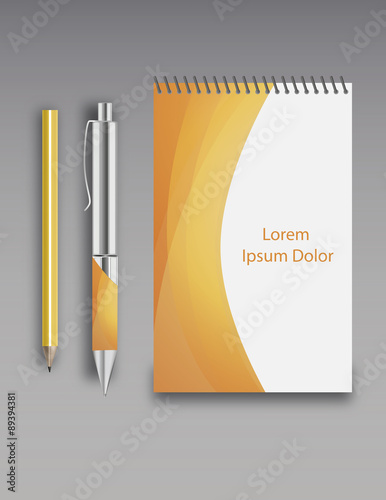 Photo note book, pen and pencil