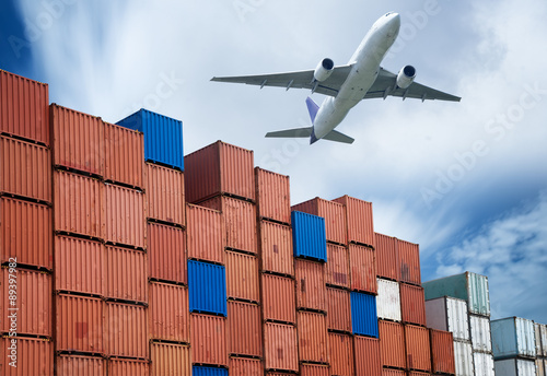 Photo  industrial port with containers and air