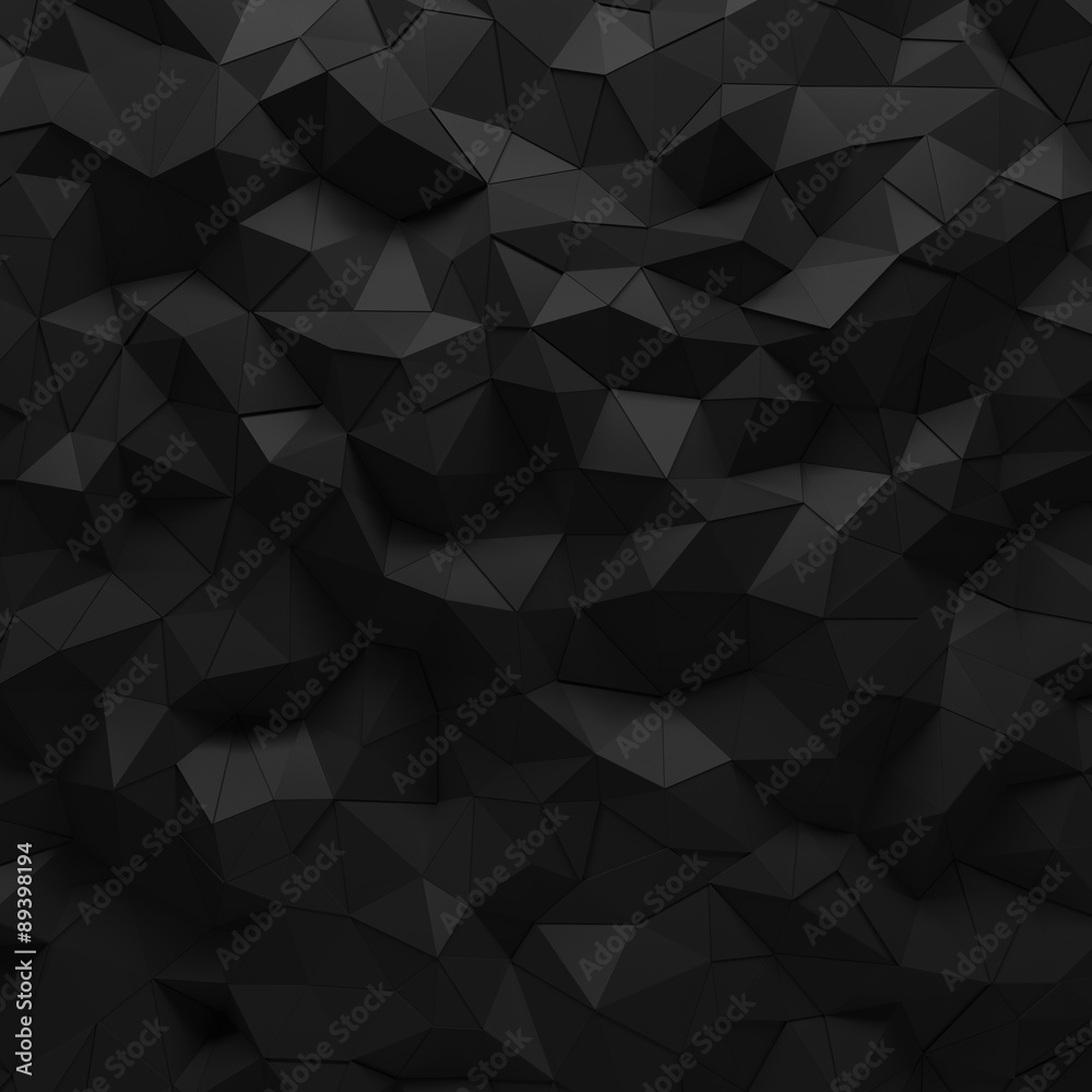 Fototapeta Abstract black 3D geometric polygon facet background mosaic made by edgy triangles