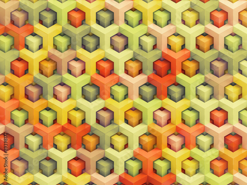 Colorful vintage 3D boxes background - vibrant cubes pattern