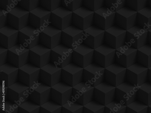 Abstract black 3D geometric cubes background - seamless pattern