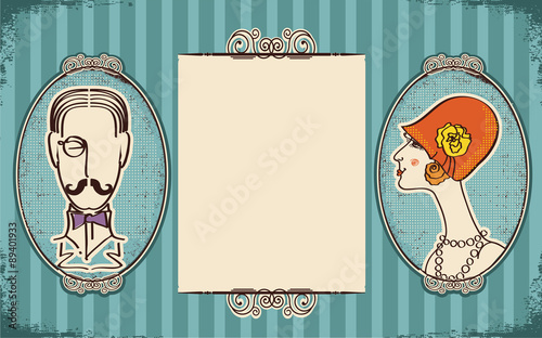 Man and woman portraits.Retro background for text on old paper Canvas Print