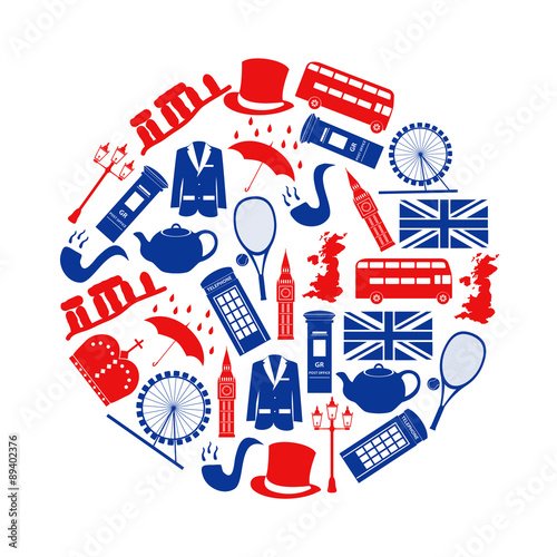 Poster  United Kingdom country theme symbols and icons in circle eps10