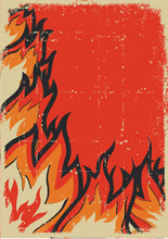 Fire Background With Sun.Vector Grunge Poster For Text