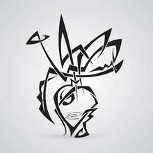 Bouquet In A Vase. Tattoo. Vector. Tribal.