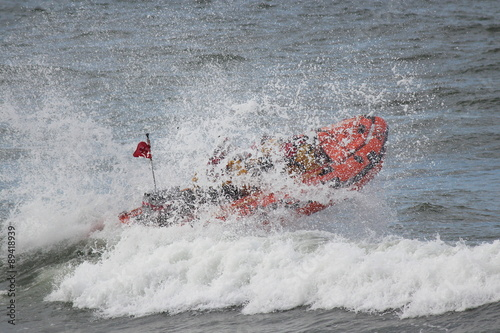 Lifeboat Dinghy Racing Against Waves in North Sea, in Display for Whitby Regatta, August 2015.