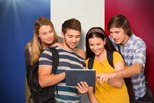 Composite Image Of Students Using Digital Tablet At College