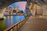 Fototapeta Paris - Paris. Image of the Notre-Dame Cathedral and riverside of Seine river in Paris, France.