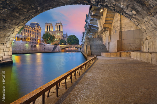 Poster Parijs Paris. Image of the Notre-Dame Cathedral and riverside of Seine river in Paris, France.