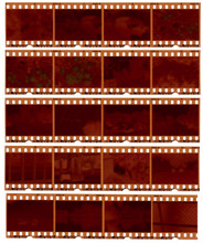Realistic Gritty Scan Of 35mm Color Negative Film Strips.